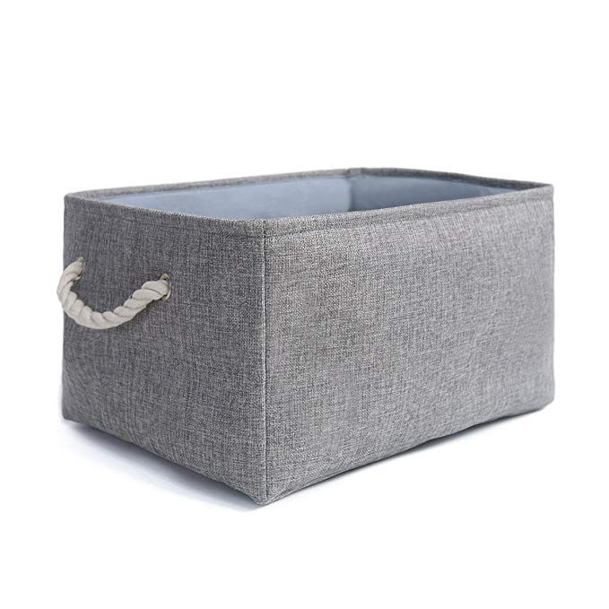 Amazon Com Collapsible Thickened Canvas Storage Bin With Rope Handles Washable Small Grey Home Kitchen Fabric Storage Bins Canvas Storage Storage