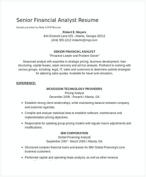 Senior Financial Analyst Resume 1 Financial Analyst Resume Sample If You Are The One That Searches For Financial A Financial Analyst Resume Examples Resume