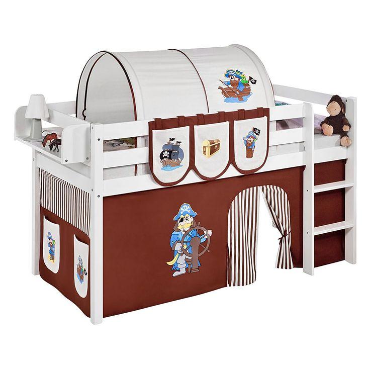 Epic Spielbett JELLE Pirat Braun Hochbett LILOKIDS mit Vorhang wei Lilokids Jetzt bestellen unter https moebel ladendirekt de kinderzimmer betten