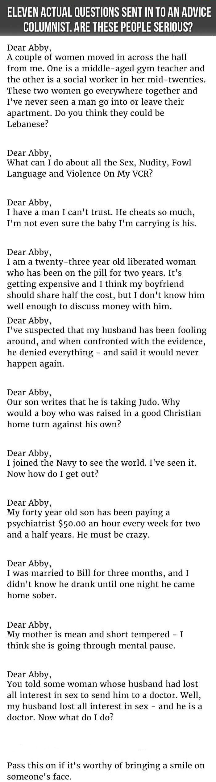 11 Hilarious Questions Sent In To An Advice Columnist funny jokes story lol funny quote funny quotes funny sayings joke humor stories hilarious funny jokes