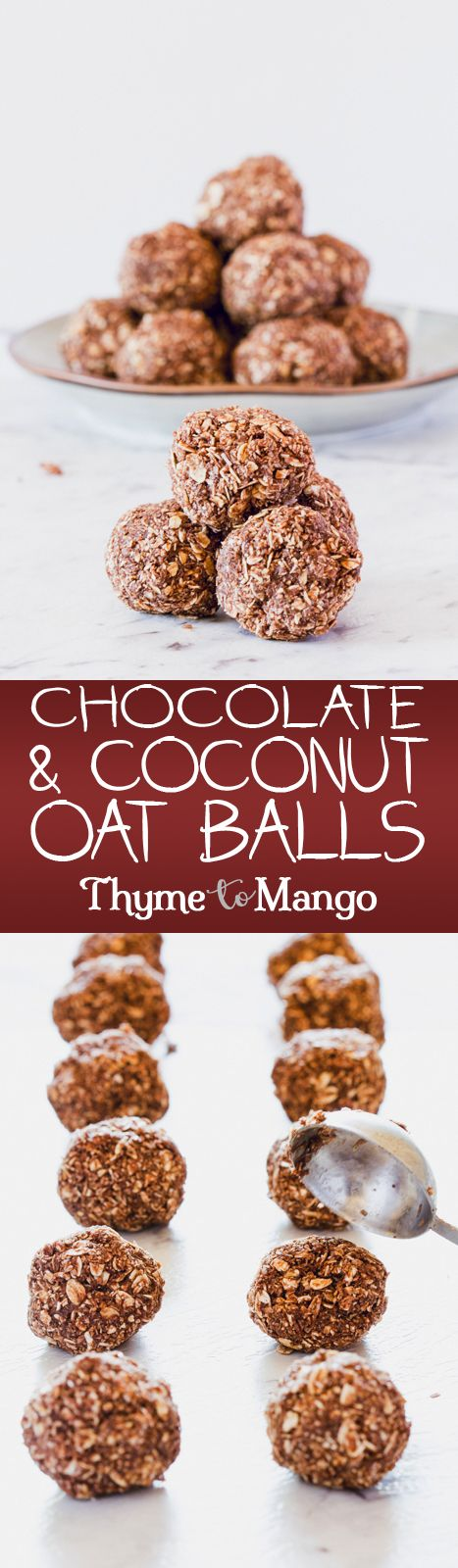 With only 4 ingredients, and 5 minutes to prepare, these chocolate and coconut oat balls are the perfect in-between-meal snack