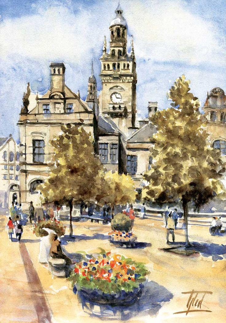 #Sheffield, UK - Town Hall #Watercolour - 21cm x 30cm Jaroslaw Glod - www.artende.pl