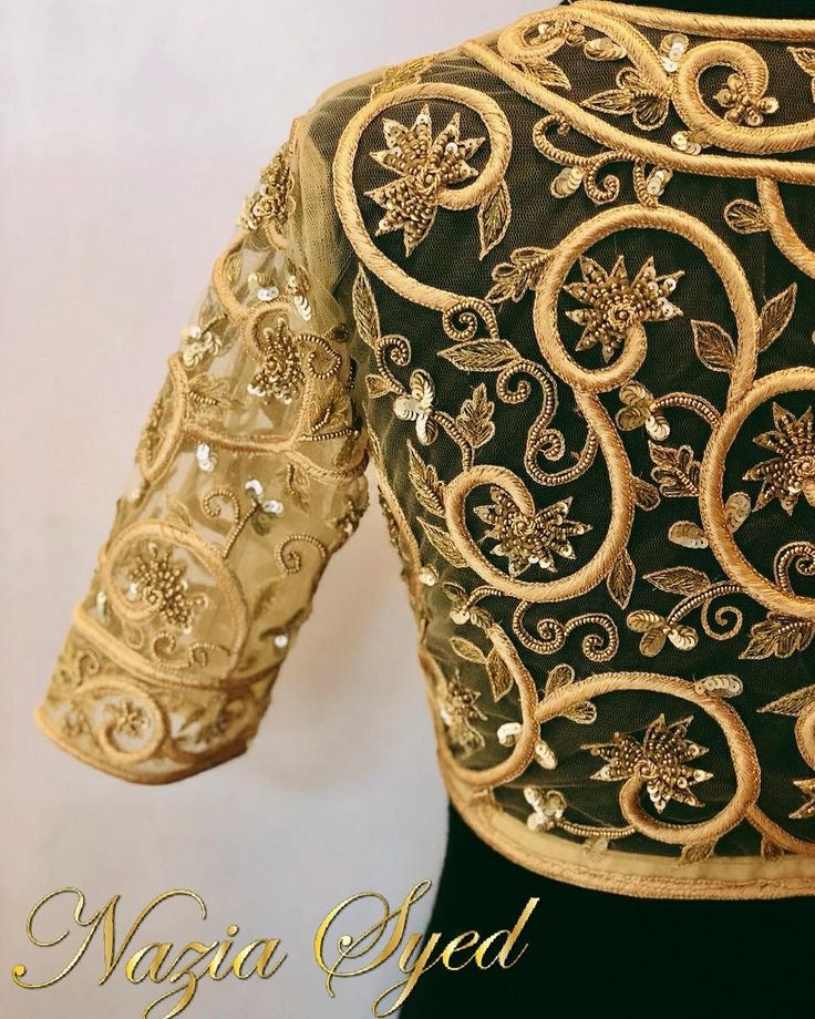 Baroque inspired floral work. Stunning designer blouse with floret lata design hand embroidery thread and kundan work. 07 February 2018