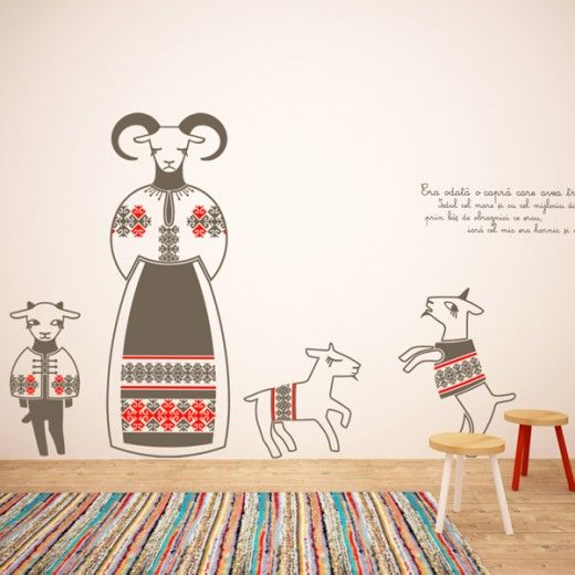 Wallsticker inspired by the Romanian story with the same name, written by Ion Creanga. The used motifs are designed after Romanian traditional stitches | by Cai Verzi pe Pereti