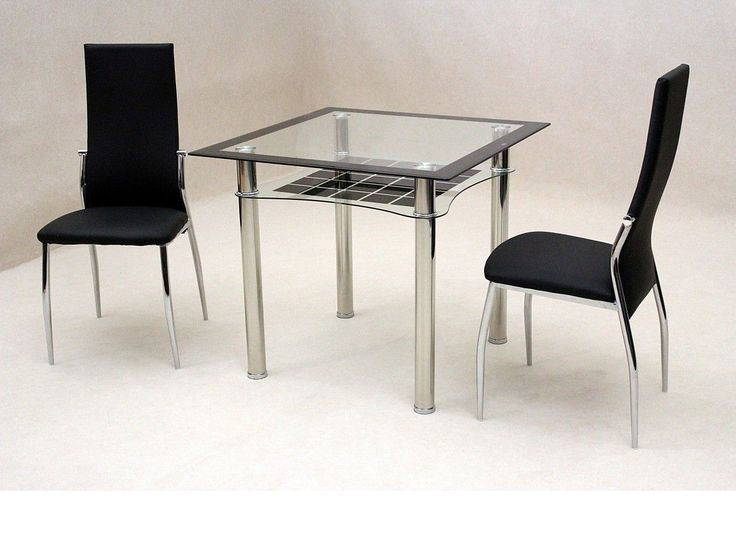 Marvelous Small Black Glass Dining Table