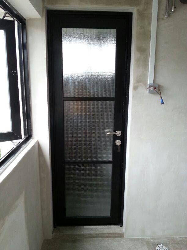 common room toilet door aluminium black frame with
