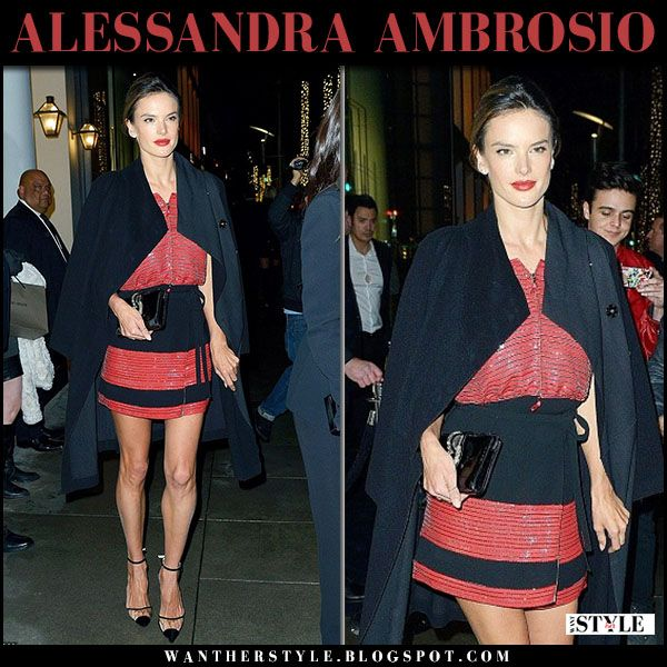 Alessandra Ambrosio in red sequin mini skirt and top #redcarpet
