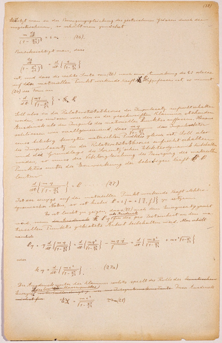 Einstein notes on special relativity