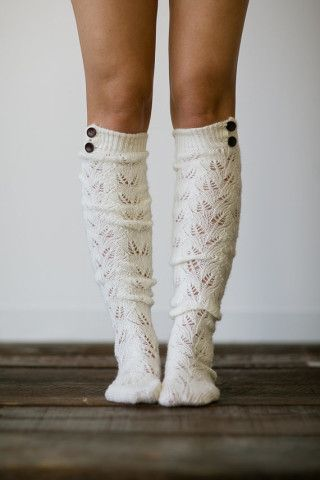 Knitted Boot Socks Women's Long Over The Knee Boot Socks with Wooden Buttons ! Cute!
