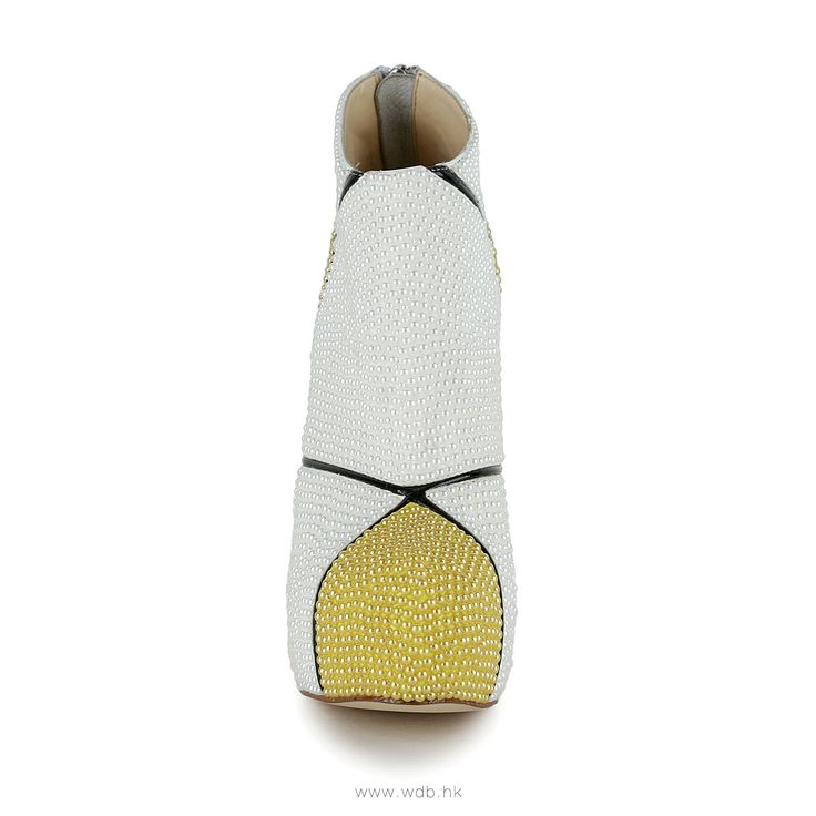 5.5 inch Yellow Beads and Pearls Leather shoes $88