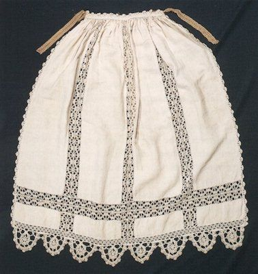 """""""Apron, Italy, 1550-1600    Aprons were commonly used for housework. This example, embellished with fine lacework and with a later belt, could have been made in the home.""""    """"Tabby linen with lacework, h 90cm, w 90cm, belt 87cm. Museo del Tessuto, Prato""""    At Home in Renaissance Italy, Marta Ajmar-Wollheim and Flora Dennis (Eds), V&A; Publications, London, 2006"""