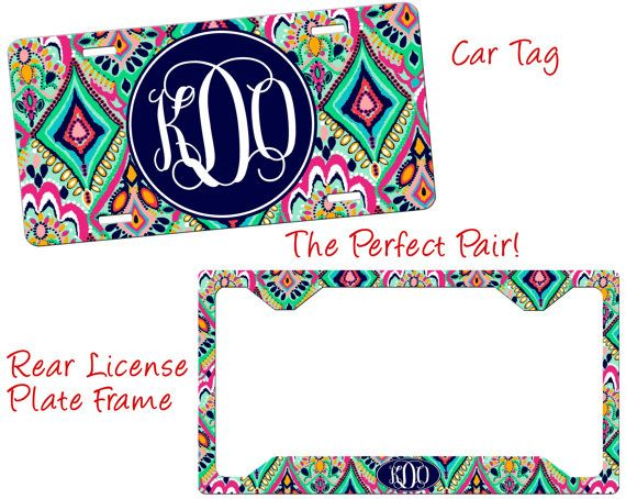 Monogrammed Car Tag Floral Jewels by bellavitashoppe on Etsy