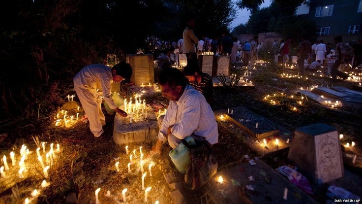 July 6, 2012: Kashmir Shia Muslims offer prayers at the candle-lit graves of their relatives during Shab-e-barat, on the outskirts of Srinagar, India.