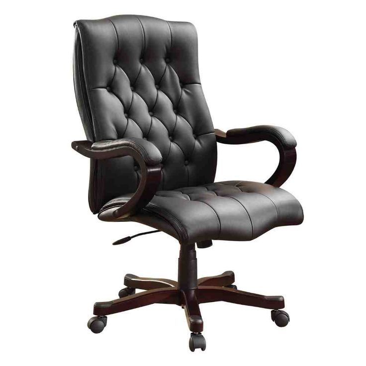 Inspired By Bassett Dixon Eco Leather Executive Chair With Wood Base And  Accents   Black By Office Star Products