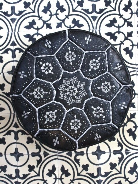 Bohemia Moroccan Leather Pouffe