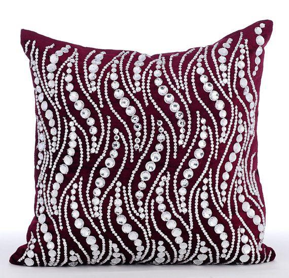 Crystal Swirls - 16x16 Rhinestones Embroidered Purple Velvet Throw Pillow.