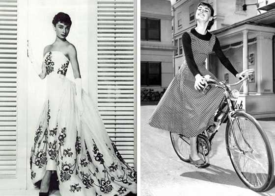 Audrey Hepburn in Sabrina. Both Edith Head designs. From onthisdayinfashion.com