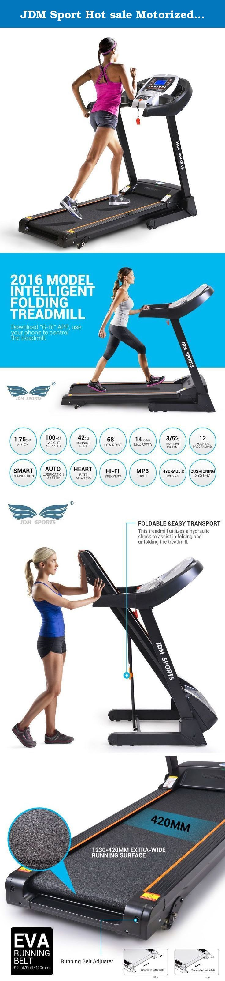 JDM Sport Hot sale Motorized treadmill bluetooth App Gfit folding home running machine. Home Treadmill fitness equipment Specification:(/b) Motor:DC 1.75HP Runing size:1230*420mm/48.462*16.548inches Speed:1.0-14KM/H Incline:3/5 two level manual incline Function:MP3,Bluetooth App Gfit,Auto Lubrication,Speaker. Max User Weight:100KGS£¨220.46LBS).