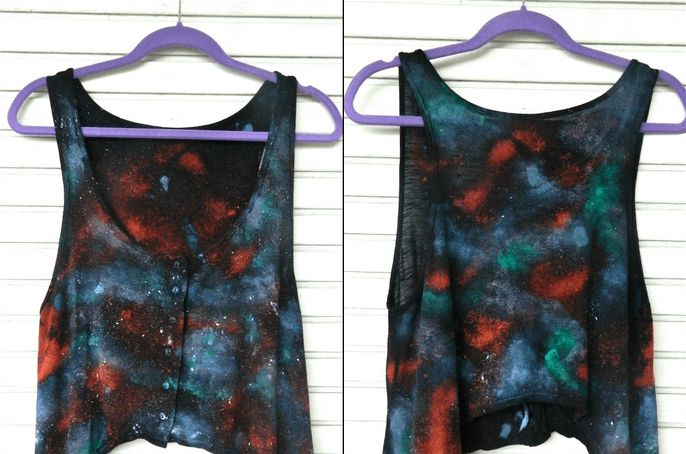 My new favorite item in my closet, my galaxy print tank. This DIY project was extremely simple to execute, took no time at all, and turned out amazing!
