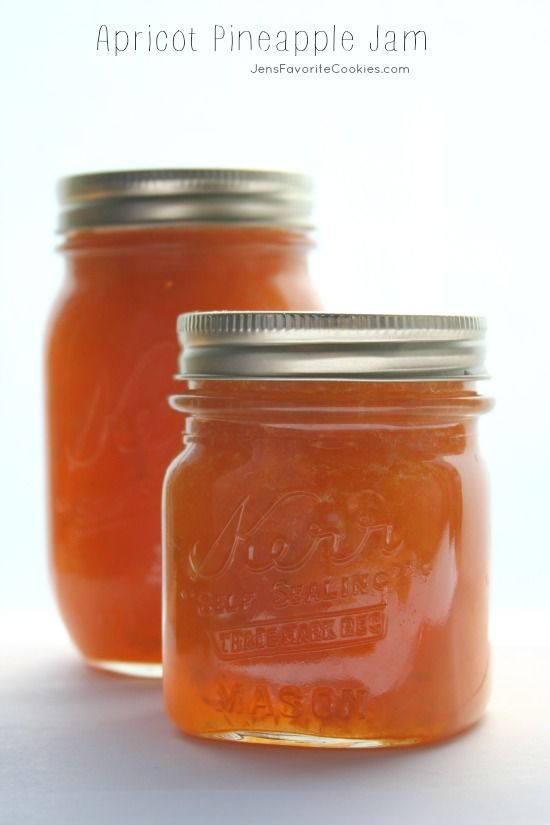 Apricot Pineapple Jam from JensFavoriteCookies.com - this delicious homemade jam is great on toast or crepes!  A great way to use your fruit harvest.