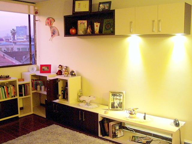Mueble en melamina engrosada.  Puertas melamina y tiradores metalicos  Luces LED empotradas en mueble superior.
