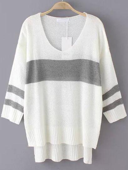 White Grey V Neck Loose Dip Hem Sweater