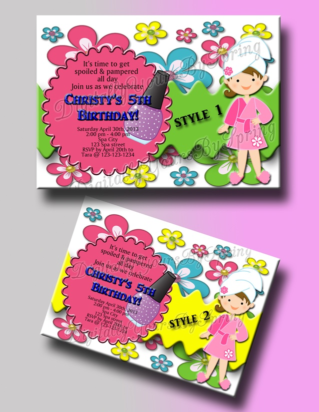 Customize this kids Spa party invitation for your party needs! If you would like to customize using different fonts or colors or add your personal pictures I can customize to your needs. Please visit my online store for more information. www.etsy.com/... or like me on Facebook! www.facebook.com/...