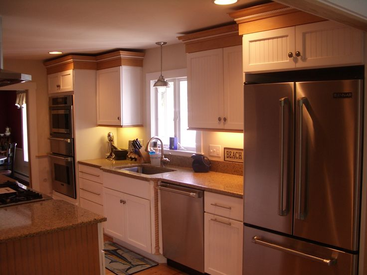 White Cabinets, Beadboard, Kitchen Cabinets, Painted Cabinets, Maple Trim,  Stainless Steel