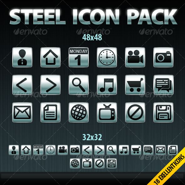18 Steel Icons Package — Photoshop PSD #steel #icons • Available here → https://graphicriver.net/item/18-steel-icons-package/86341?ref=pxcr