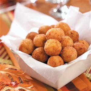Fried Mashed Potato Balls Recipe -The key to making this recipe is to use mashed potatoes, which are firm from chilling. Serve with sour cream or ranch salad dressing on the side. —Taste of Home Test Kitchen