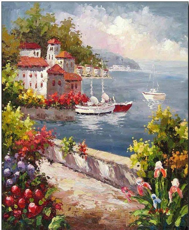 Mediterranean Sea Landscapes Oil Paintings 011