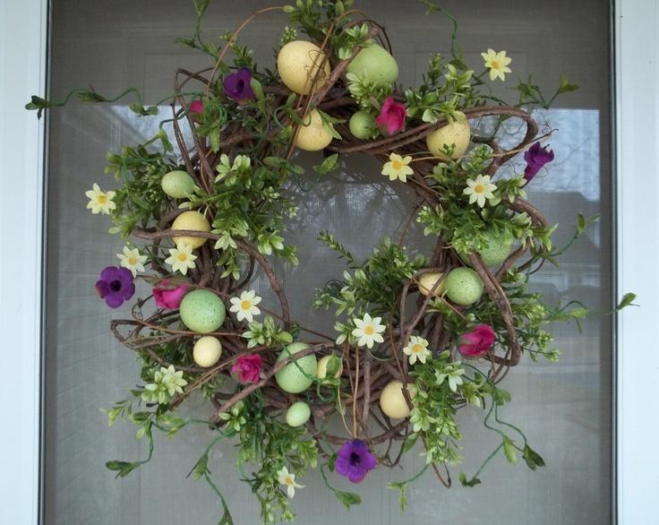 easter spring wreath egg wreath easter pinterest. Black Bedroom Furniture Sets. Home Design Ideas