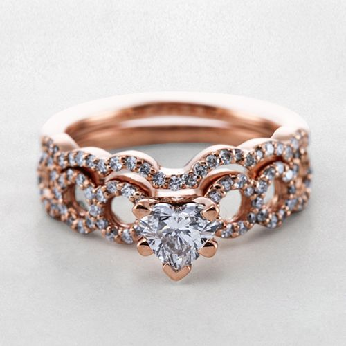 Rose gold Heart Shaped Diamond Wedding Ring Sets