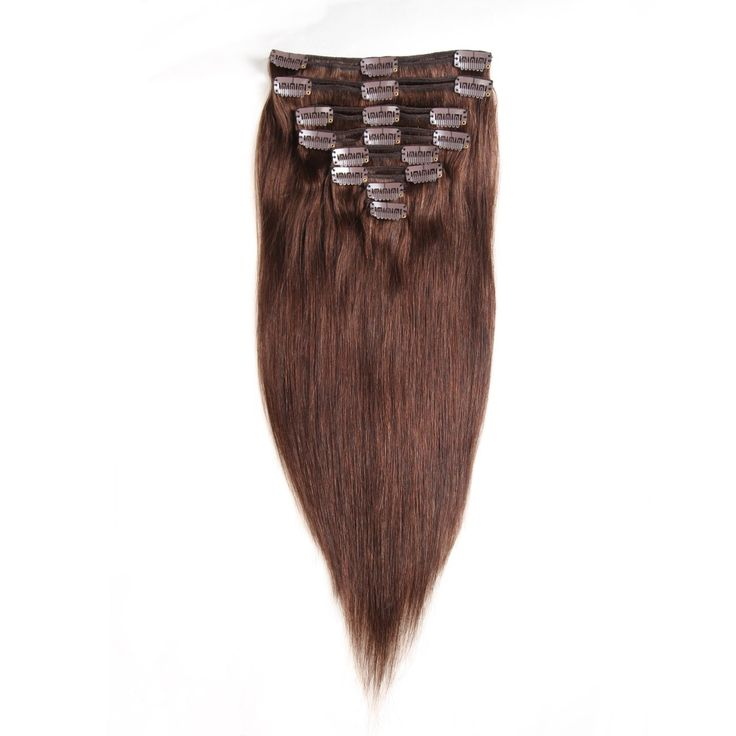Wiggins Human Hair Extension Clip in Silky Straight 8 Pieces 14 inch-20 inch 100% Unprocessed Human hair Different Color Option Available (18, 2#)