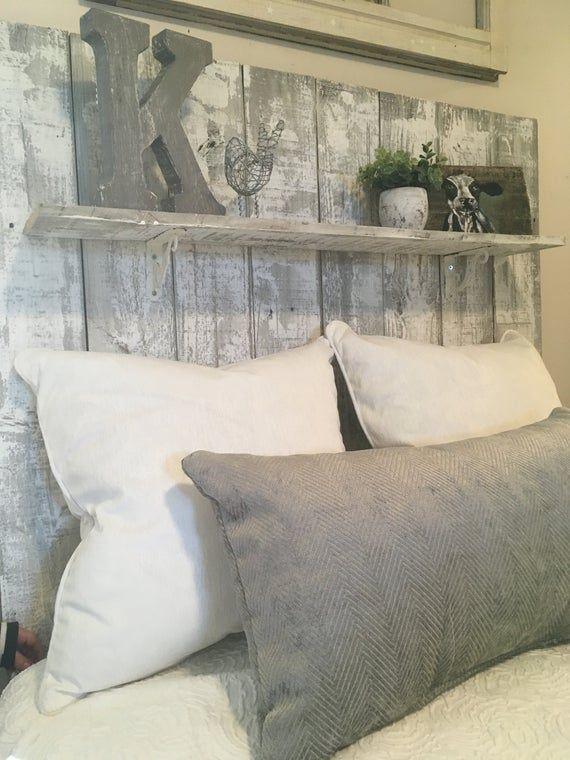 Adorable Farmhouse Whitewashed Reclaimed Wood Headboard