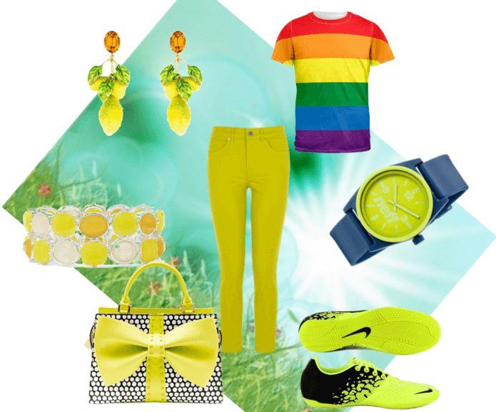 Жёлто-зелёные джинсы, кроссовки, сумочка в горох с бантом, серьги, часы, браслет
