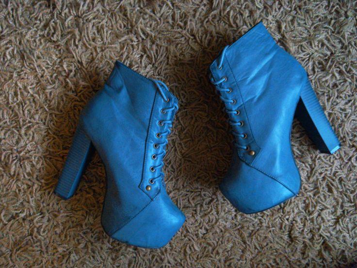 niebieskie lity koturny botki na słupku oryginalne wysokie obcasy blue boots high heels