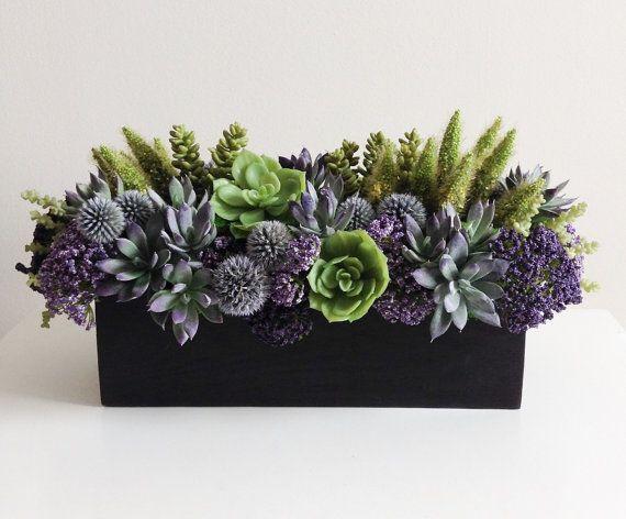 Artificial Succulent Arrangement / Faux Succulents / Wood Planter / Purple / Green / Brown