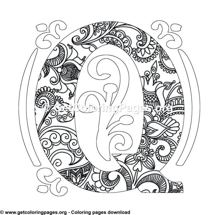 Zentangle Monogram Alphabet Letter Q Coloring Sheet Owl Coloring Pages Pattern Coloring Pages Monogram Alphabet