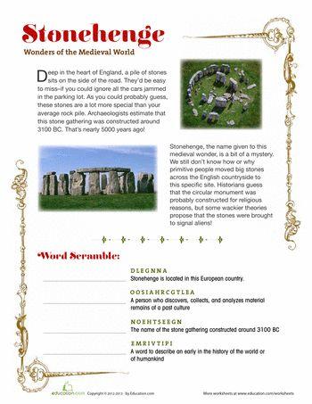 Worksheets: Stonehenge