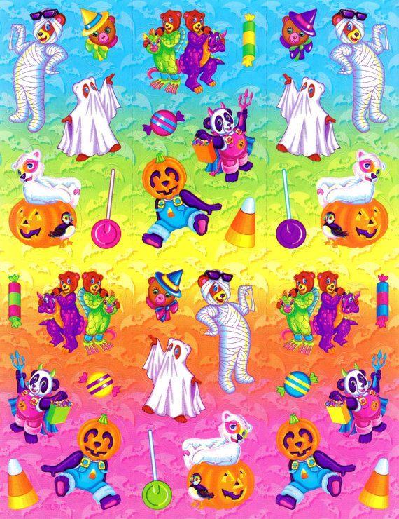 Vintage Lisa Frank Sticker Sheet Halloween Teddy Bears S317 FULL SHEET