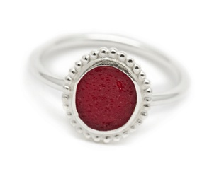 seaglass red ring from Silverstorm in Scituate, MA