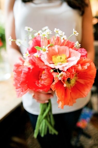 a brilliant bouquet bursting with charm and color!Coral Rustic Wedding Bouquets, Wild Flower, Modern Wedding, Poppies Bouquets, Peas Bouquets, Wedding Flowers, Bright Colors Flower Bouquets, Sweets Peas, Poppies Wedding