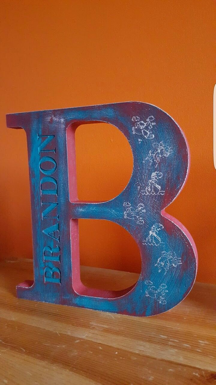 Handpainted and stamped CNC cut letter
