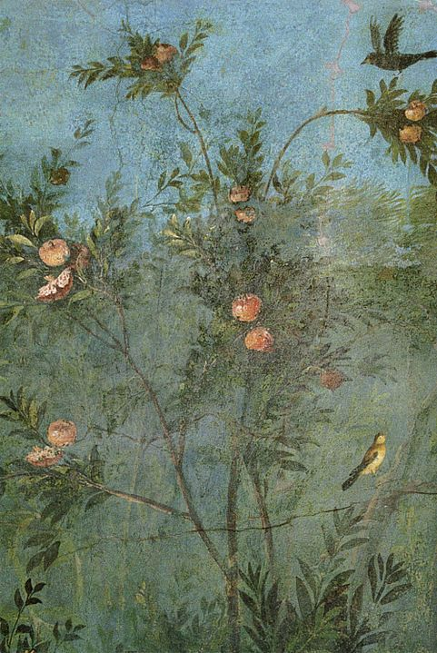 Ancient Roman fresco - Pomegranate tree - Villa di Livia (Rome) - Underground garden room                                                                                                                                                     More