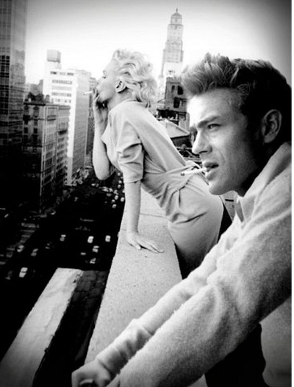 Historical Pictures ‏- Marilyn Monroe and James Dean smoking in New York City;; Want this as a print so bad!