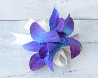 Púrpura azul boda ramillete - seda turquesa púrpura flor de la orquídea Corsage - Teal