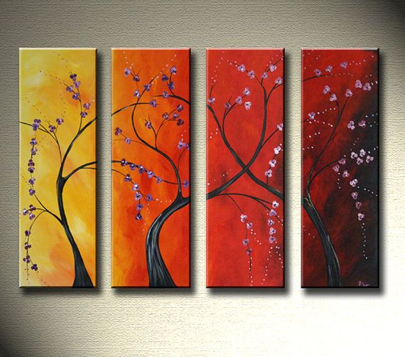 LARGE 48  Modern Abstract Cherry Blossom by ModernArtbyAda on Etsy, $240.00