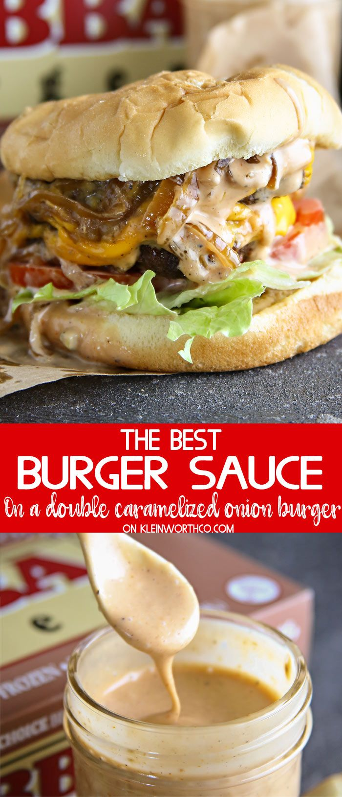 Best Burger Sauce on a Double Caramelized Onion Burger is the best thing you'll ever eat. Delicious over the top juicy burger loaded with all the good stuff. #BuildABetterBurger #ad #BubbaBurger @Bubbaburger