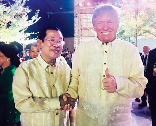Hun Sen seen with Trump Trudeau and other leaders at Asean meet